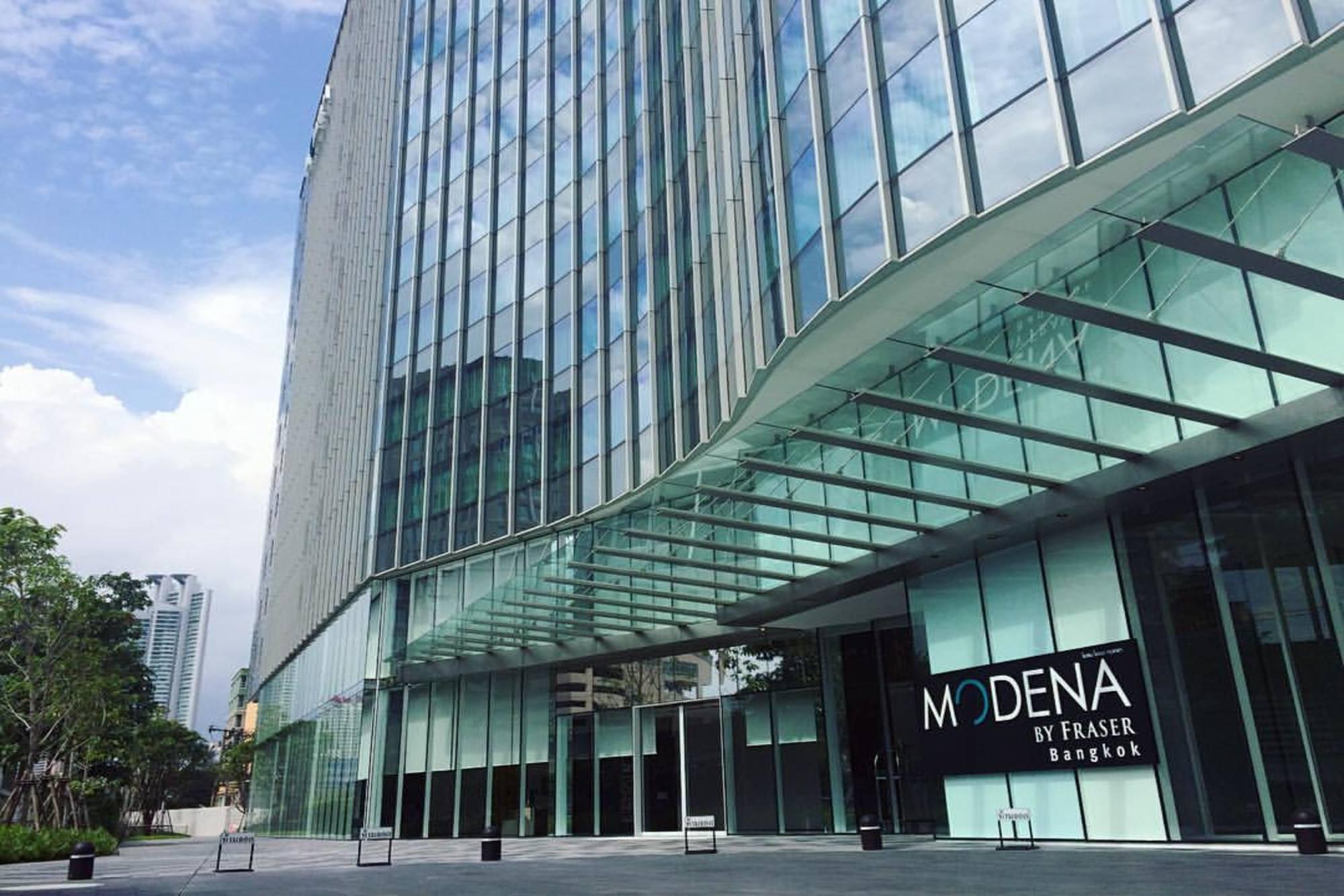 曼谷名致服务公寓以玻璃帷幕打造时尚建筑外观。(图片来自:Modena by Fraser Bangkok官网)
